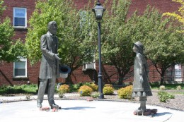 Photo of The Lincoln/Bidell Statue located in Westfield, NY where President Lincoln once made a stop to meet Miss Bidell.