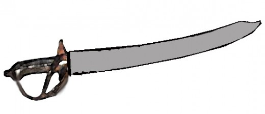 Cutlass - The cutlass, similar to the scimitar, is the sailors side arm because it is heavy enough to cut ropes, canvas and wood.  Short enough to use in close quarters combat the cutlass was simple to use and required little training.
