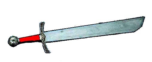 Falchion  The falchion is a single bladed French medieval sword that draws its design from a butchers meat cleaver. An easy to use weapon, they were made in quantity for use by conscripted troops.