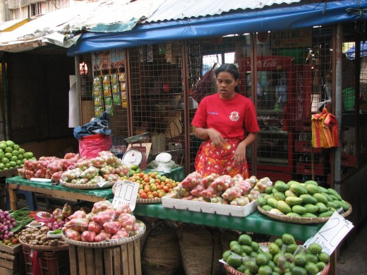 A vendor at her stand waiting for customers