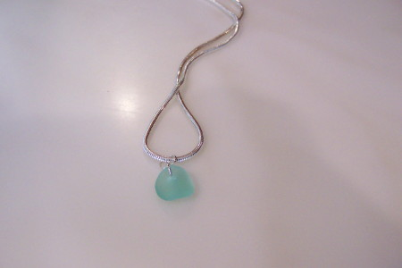 Aqua Beach Glass Pendant Photo