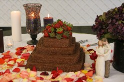 chocolate cake with strawberries made by a baking enthusiast