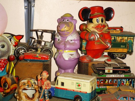 Peter Potamus who had a really loud roar, that would blow every nemisis flat out on the floor, and Mickey whose nose is now gone evermore, but he's still a bandleader, with that smile I adore, trolley cars stacked up high with some autos of old......