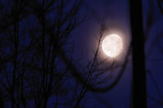 The moon sets in the west this morning.