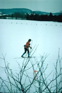 Skiing across a field in Canadian Ski Marathon.