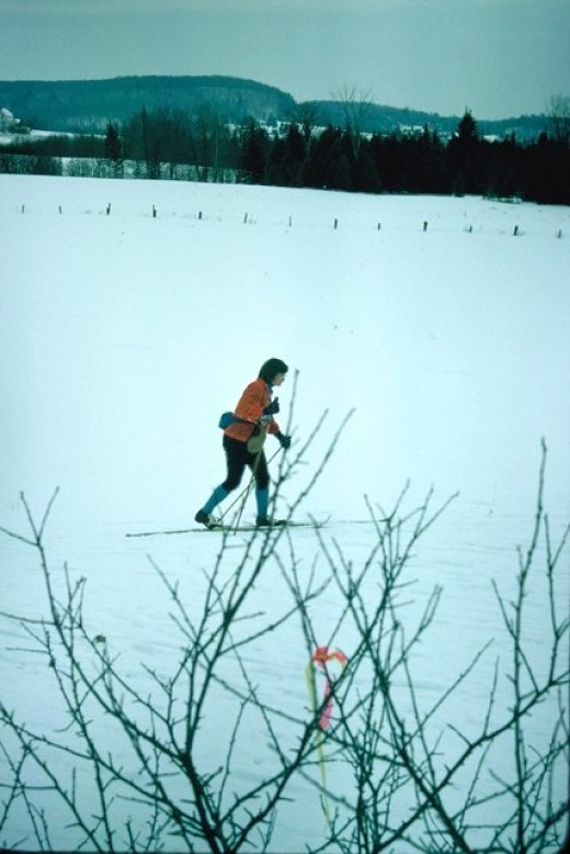 Skiing across a field in Canadian Ski Marathon.