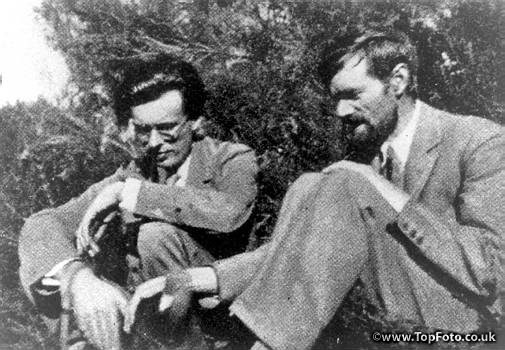 "D.H. Lawrence and close friend, English writer Aldous Huxley, author of ""Brave New World."""