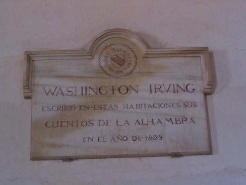 Washington Irving/ wrote in these rooms his /'Tales of the Alhambra' /in 1829