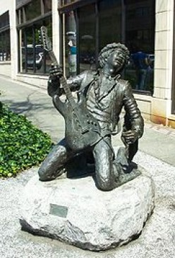 Statue of Hendrix in Seattle - notice the upside-down Strat