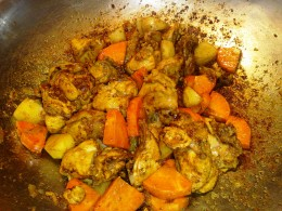 Add potatoes and carrots and stir until half done