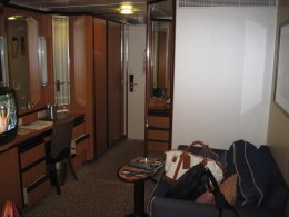 "View of interior of cabin on Royal Caribbean Cruise Lines' cruise ship ""Jewel of the Seas"""