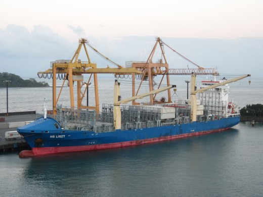 Container ship in Puerto Limon, Costa Rica