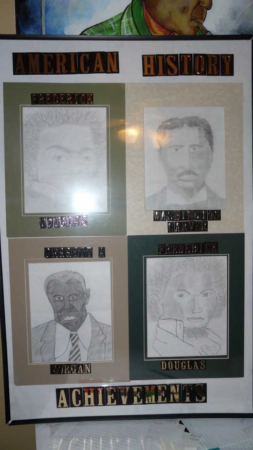 Let your team know that you are proud of their efforts and put them on display.  These portraits were drawn free-hand by students with pencil and paper. Prizes of 1st 2nd and 3rd were awarded!