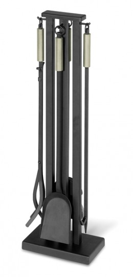 Iron fireplace tool set with brushed stainless steel accent.