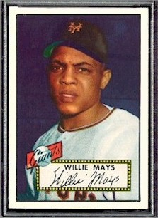 The 2nd year card of Willie Mays, # 261, is another stand-out card in the 1952 Topps baseball set.