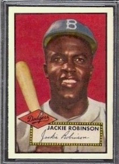 Jackie Robinson's 1952 Topps card, #312, another victim yet also another legend.