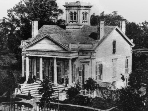 THE OLDEST HOUSE IN CHICAGO IS THE HENRY CLARKE HOUSE BUILT IN 1836 (PHOTO FROM 1850s)