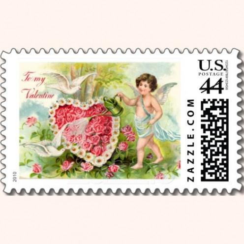 Vintage Cupid Watering Roses Postage
