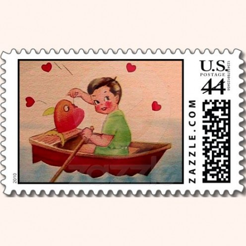 Boy with Heart in Boat Postage