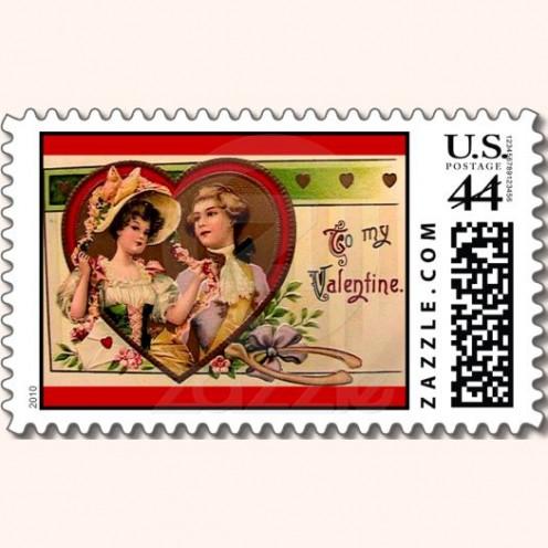 Victorian Couple Valentine Postage