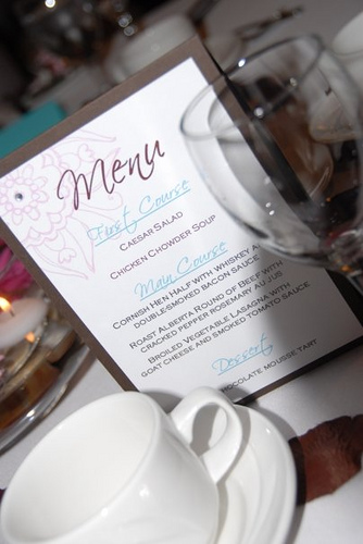 Menu cards are a nice detail for a wedding reception