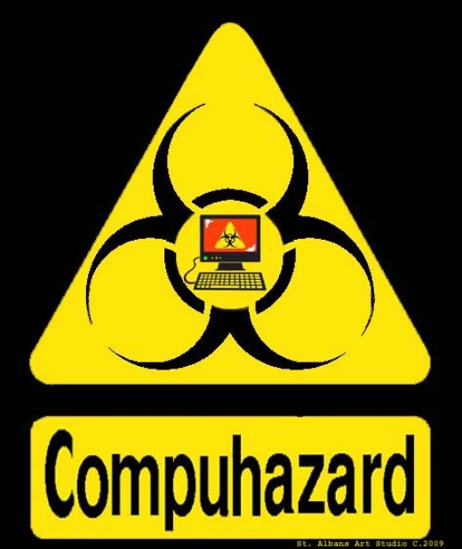 Compuhazard sign,copyright 2009 St. Albans Art Studio