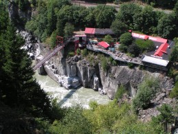 An aerial view of present day Hells Gate, BC, which is now a tourist attraction.