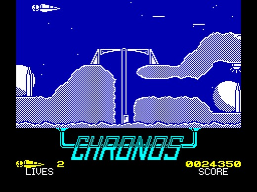 Scrolling arcade action in Chronos on the ZX Spectrum