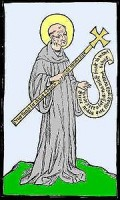 Image of St Benedict with a cross from 1415