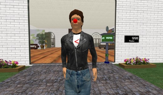 Self-Portrait of Rik in Second Life (The Red Nose is Just to Initiate Conversation!)