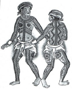 "This is an illustration taken from the Boxer Codex dated 1590 of fully tattooed ""Pintados"" from the Visayan region. The floral-like tattoo patterns on the body have similar counterparts in the woven textiles of the Ilocos as well as in the tattooing"