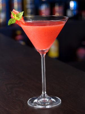 Ingredients for how to make simple Strawberry Daiquiris: 1/2 oz strawberry schnapps - 1 oz light rum - 1 oz lime juice - 1 tsp powdered sugar - 1 oz strawberries