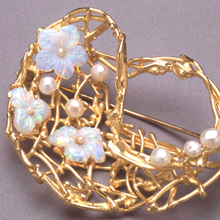 Ingeborg Bratman 18ct brooch with carved opals and pearls from designerjewellersgroup.com