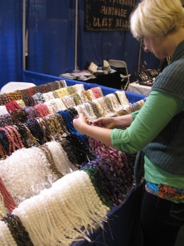 My wife selecting beads for a jewelry making project