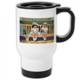 This is an example of an old ad on a travel mug