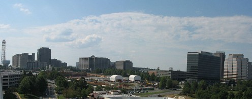 The skyline of the census-dedignated place called Tysons Corner, in 2009 (photos this page public domain).