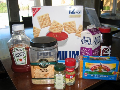 Just a few of the ingredients that, when mixed together, produce the easy cheesy meatloaf you will love!