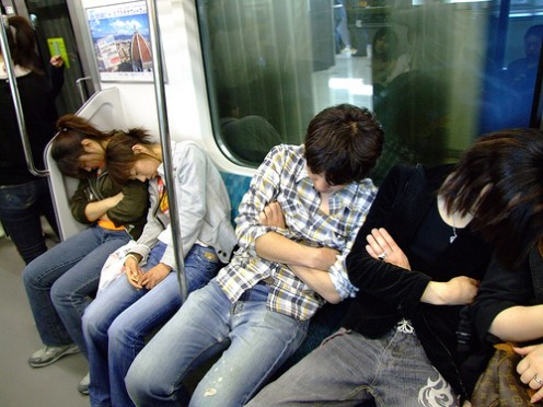 Enjoying nap time, even on board the train in Japan.