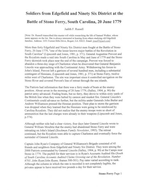 Book page 34 Battle of Stono Ferry 1779  p 1
