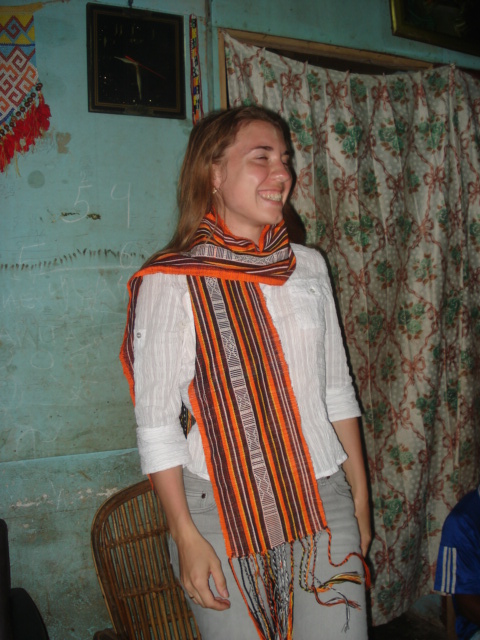 Inga a Russian tourist was trying a shawl weaved by Mrs. Marice Fonataba