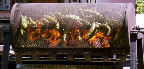 Roasting chilli peppers.