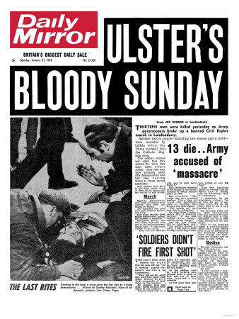Findings of the Bloody Sunday Inquiry delayed until March 2010  U2 - Bloody Sunday  On January 30, 1972, British troops opened fire on unarmed and peaceful civilians in Derry, Ireland during a civil rights march.