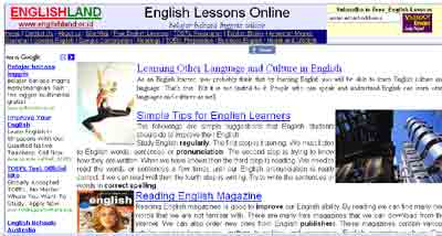 The home page of Englishland, most of my Adsense earnings come from this website