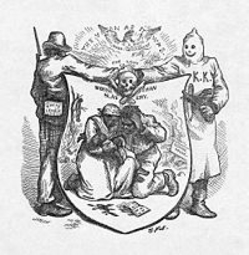 Harper's Magazine political cartoon depicting alliances in opposition to US Reconstruction Policy