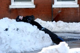 Adults aren't the only ones tired out from the snow - Joseph Hayden, 12 taking a break