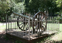 Reflecting Smuts's military career, this field cannon stands in the fron garden of the Doornkloof homestead