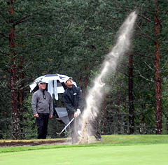 Golfers must learn to Strike the Ball Sand traps or Bunkers add to the need for skill.