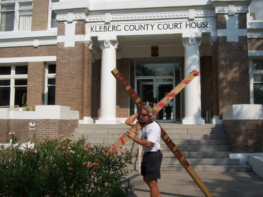 Carrying the Cross in Kingsville,TX. in Nov. 2008  I walked 10 days in this town.