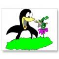 Penguin and Leprechaun Postcard