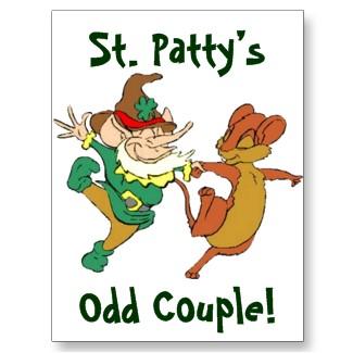 St. Patty's Odd Couple Postcard